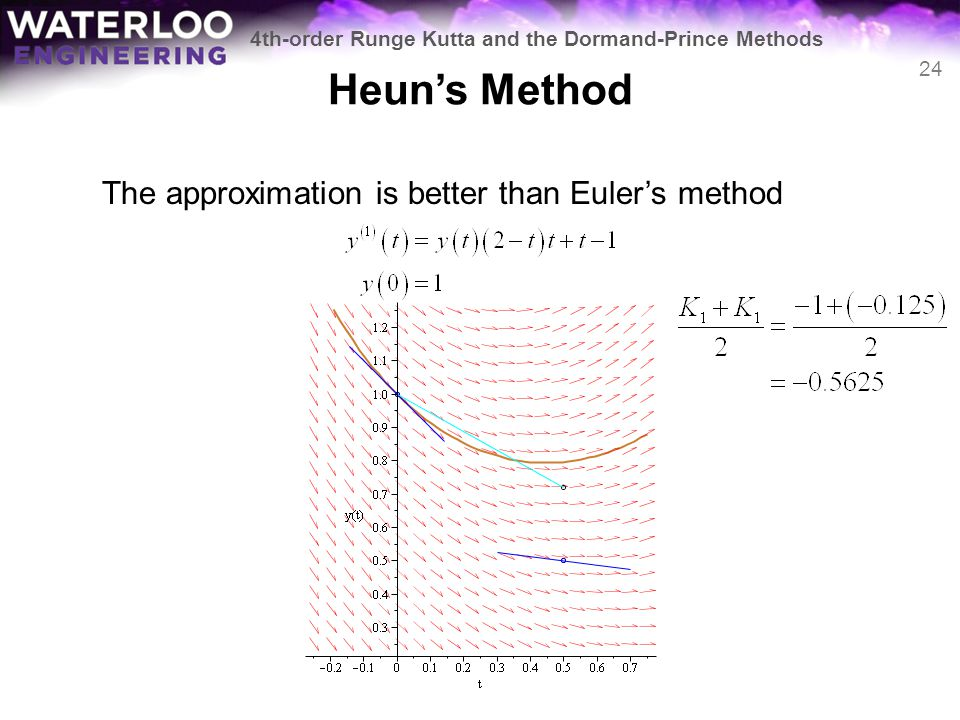 Heun's Method The approximation is better than Euler's method