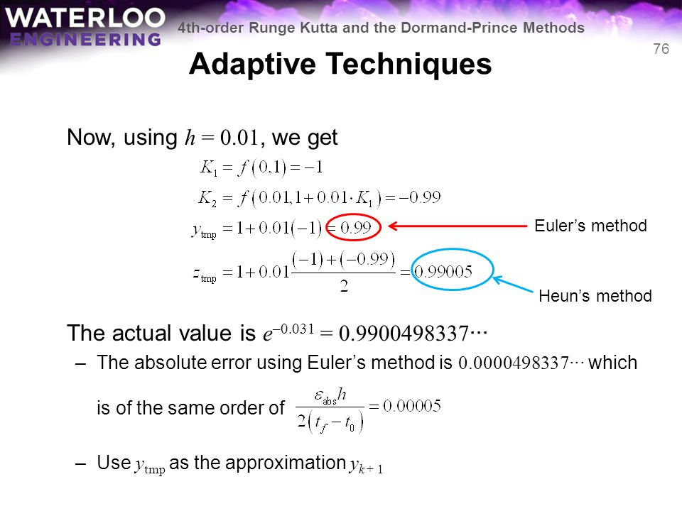 Adaptive Techniques Now, using h = 0.01, we get