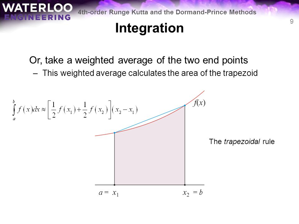 Integration Or, take a weighted average of the two end points