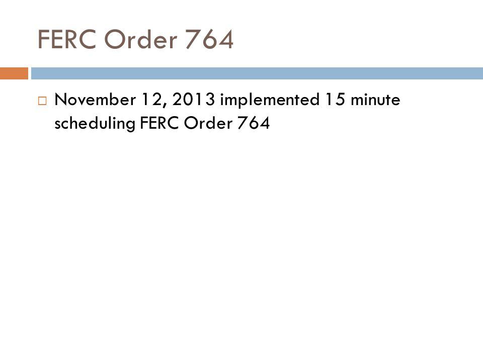 FERC Order 764 November 12, 2013 implemented 15 minute scheduling FERC Order 764