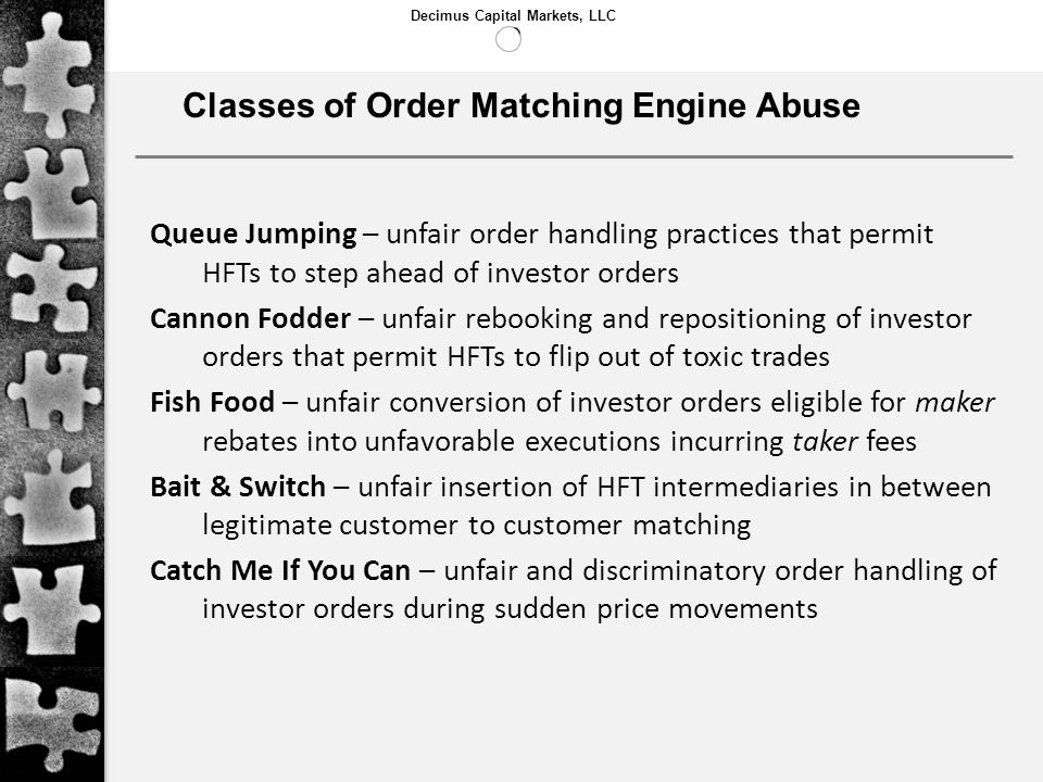 Classes of Order Matching Engine Abuse