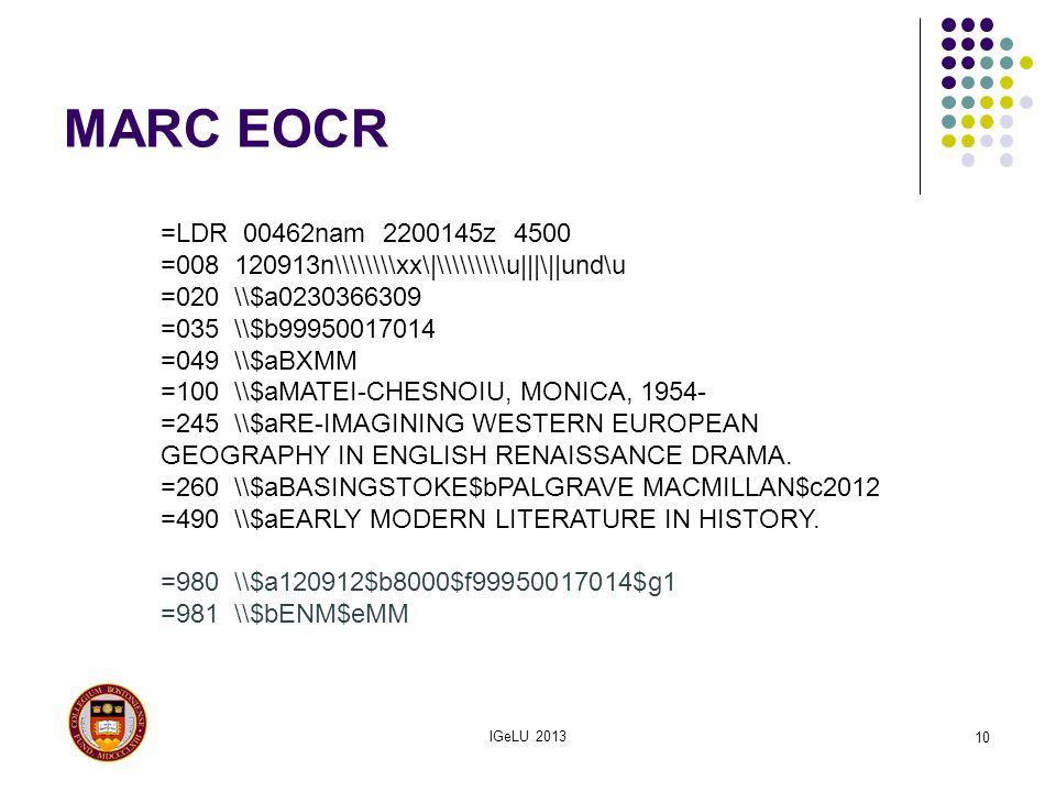 MARC EOCR =LDR 00462nam 2200145z 4500. =008 120913n\\\\\\\\xx\ \\\\\\\\\u   \  und\u. =020 \\$a0230366309.