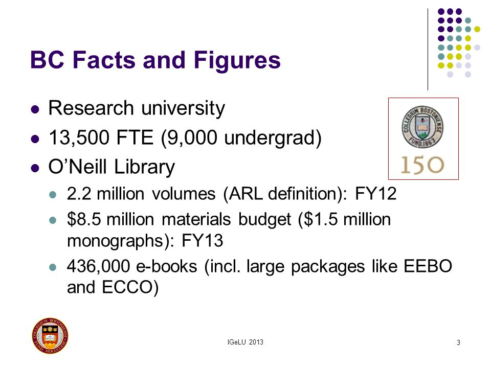 BC Facts and Figures Research university 13,500 FTE (9,000 undergrad)
