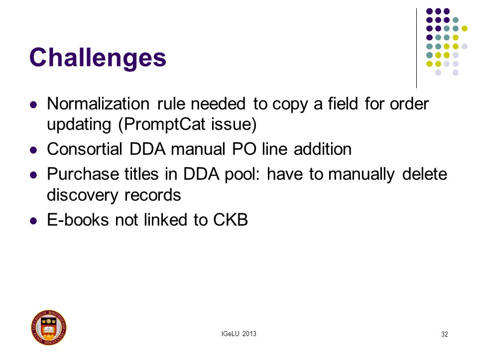 Challenges Normalization rule needed to copy a field for order updating (PromptCat issue) Consortial DDA manual PO line addition.