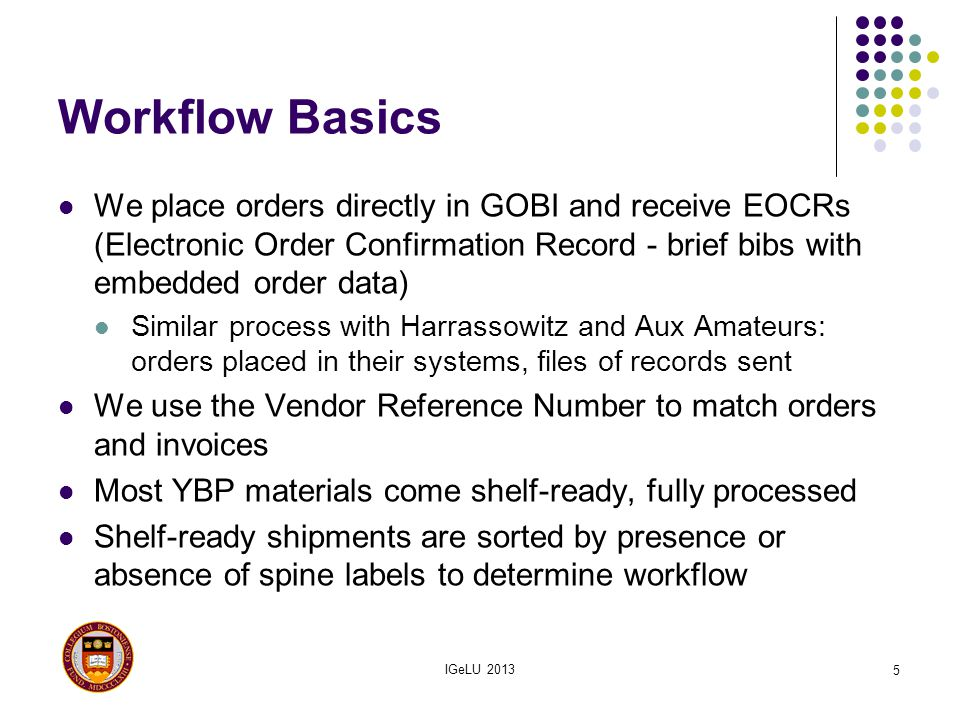 Workflow Basics We place orders directly in GOBI and receive EOCRs (Electronic Order Confirmation Record - brief bibs with embedded order data)