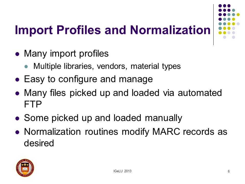 Import Profiles and Normalization