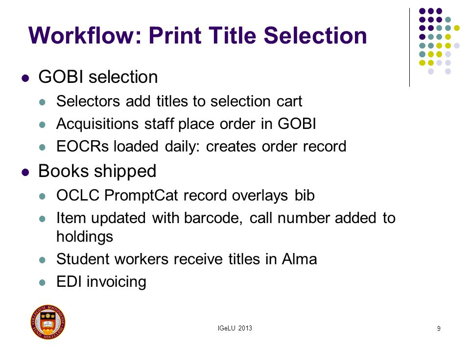 Workflow: Print Title Selection