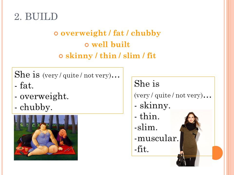 overweight / fat / chubby skinny / thin / slim / fit