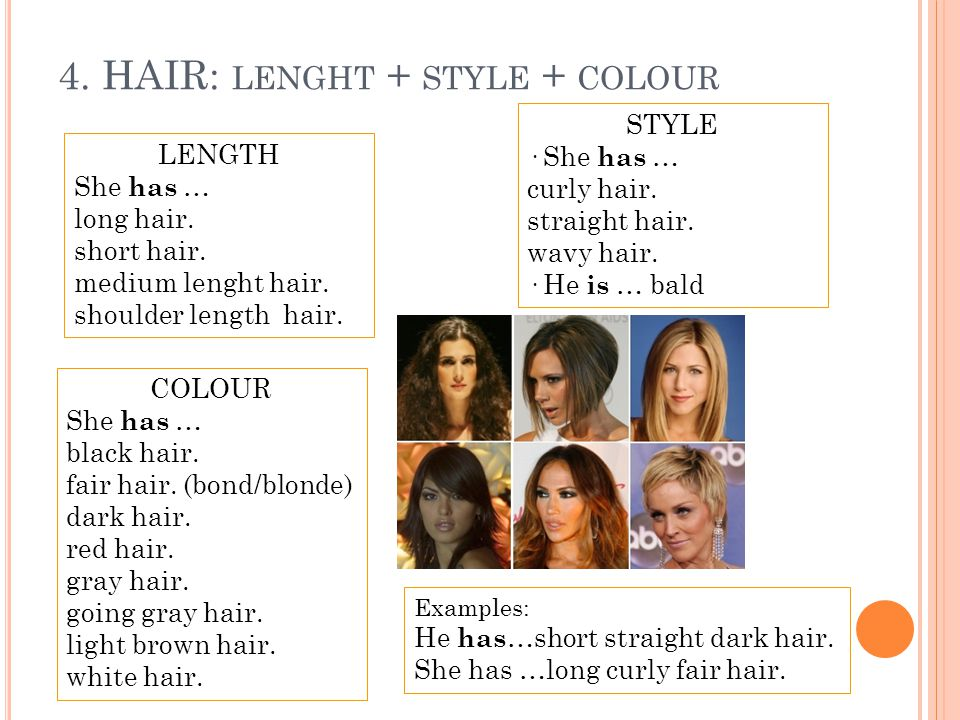 4. HAIR: lenght + style + colour