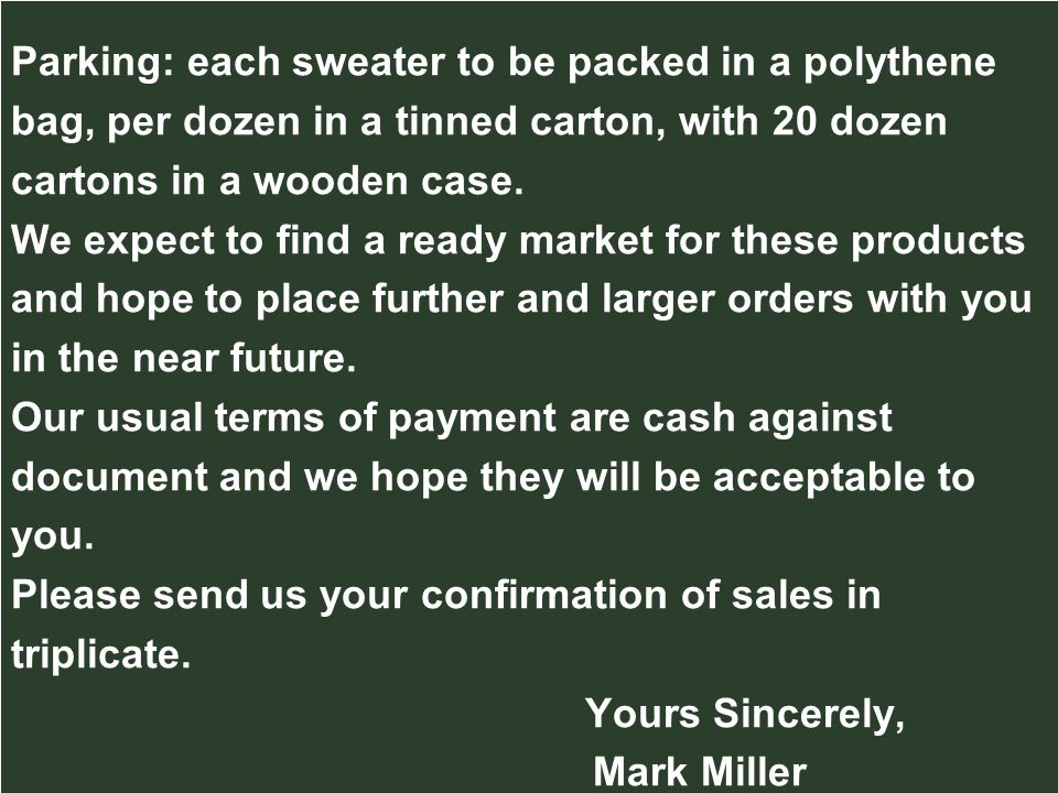 Parking: each sweater to be packed in a polythene