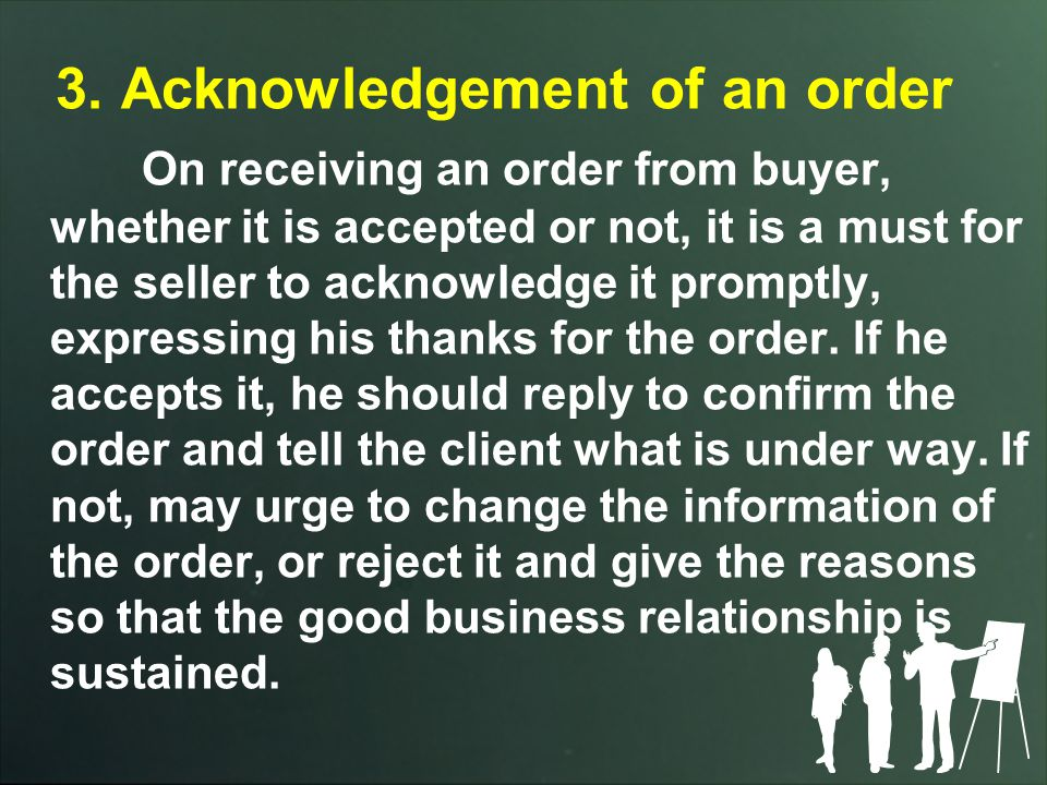3. Acknowledgement of an order