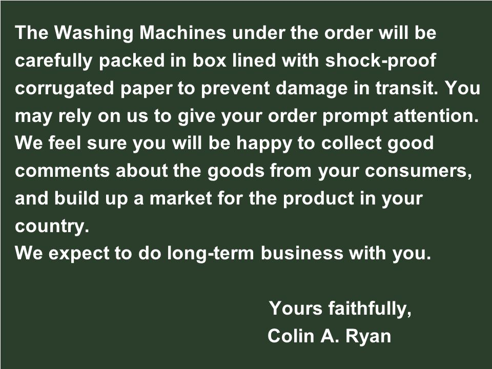 The Washing Machines under the order will be