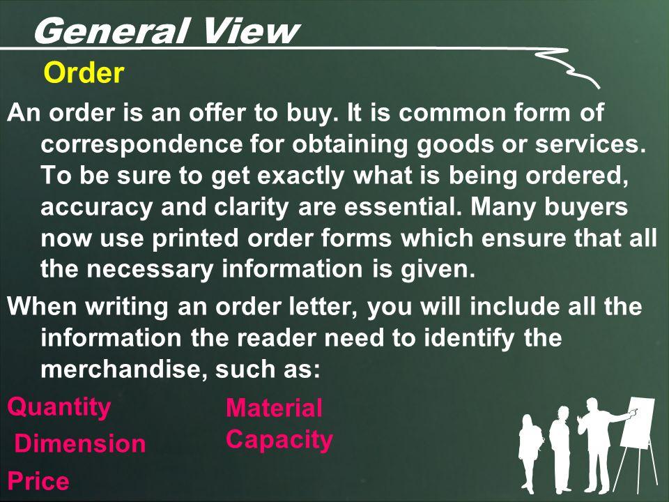 General View Order.
