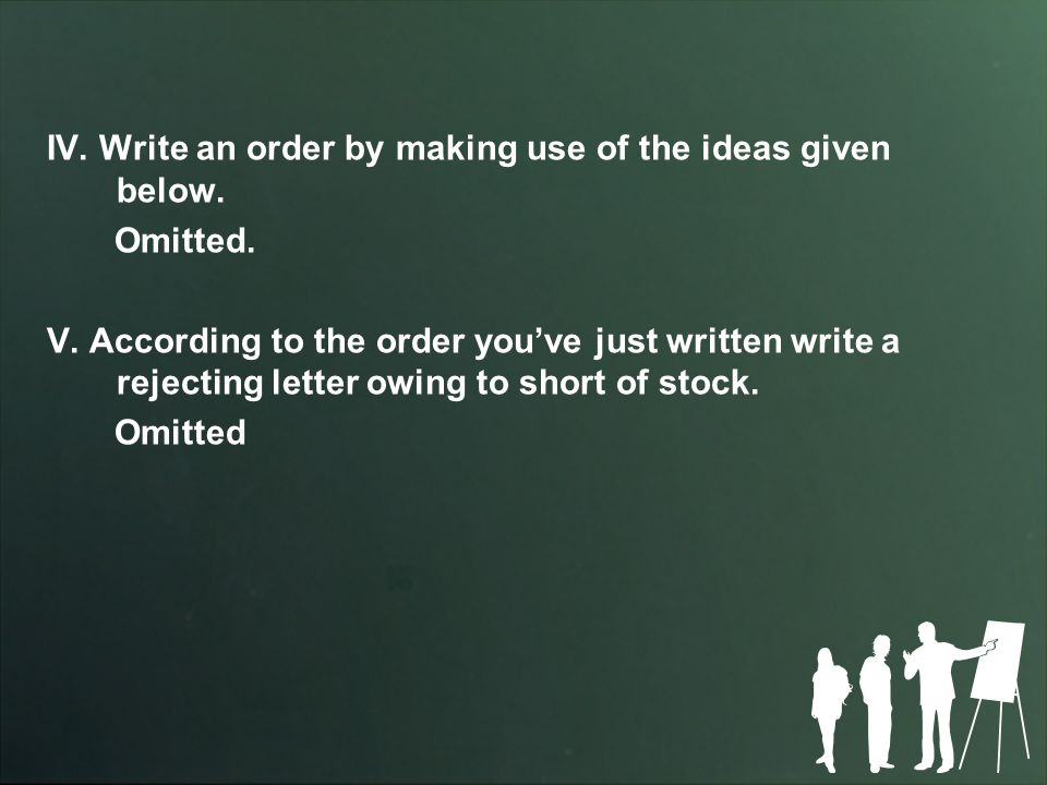 IV. Write an order by making use of the ideas given below.