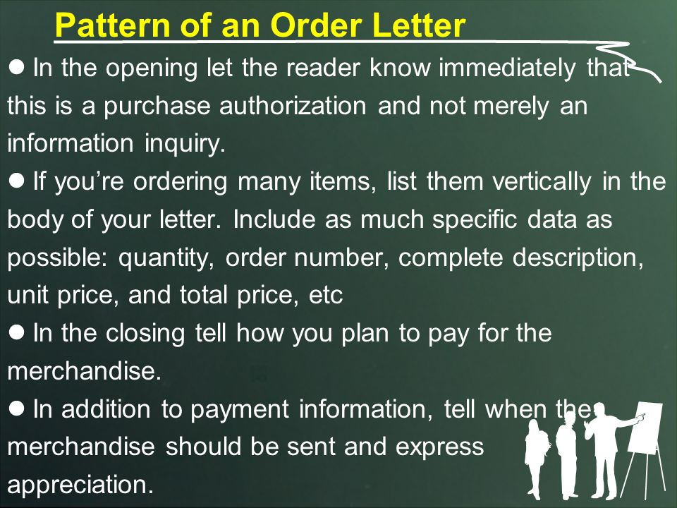 Pattern of an Order Letter