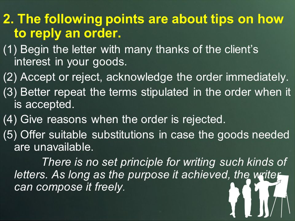 2. The following points are about tips on how to reply an order.