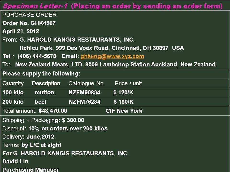 Specimen Letter-1 (Placing an order by sending an order form)