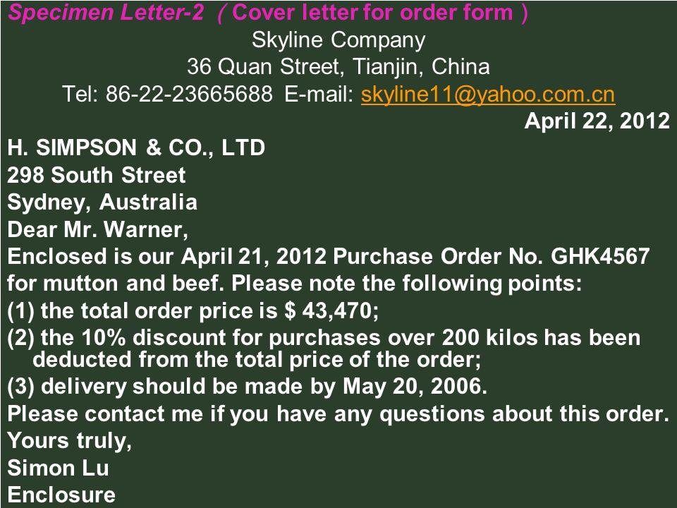 Specimen Letter-2 (Cover letter for order form) Skyline Company