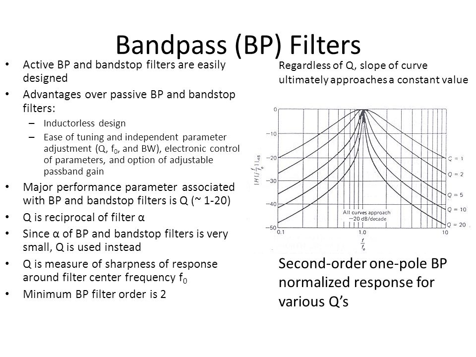 Bandpass (BP) Filters Active BP and bandstop filters are easily designed. Advantages over passive BP and bandstop filters: