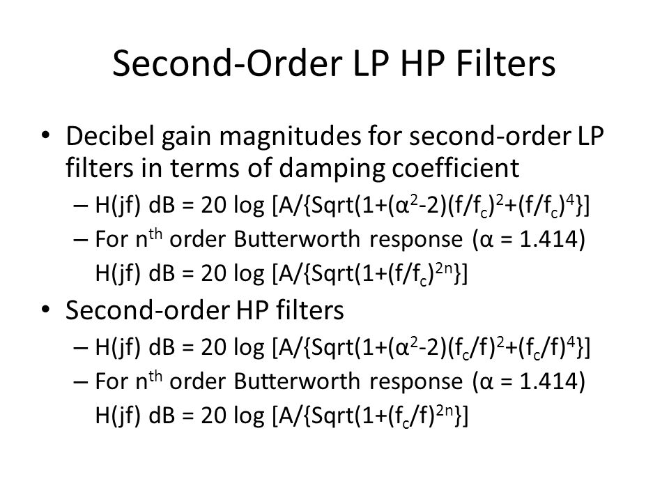 Second-Order LP HP Filters