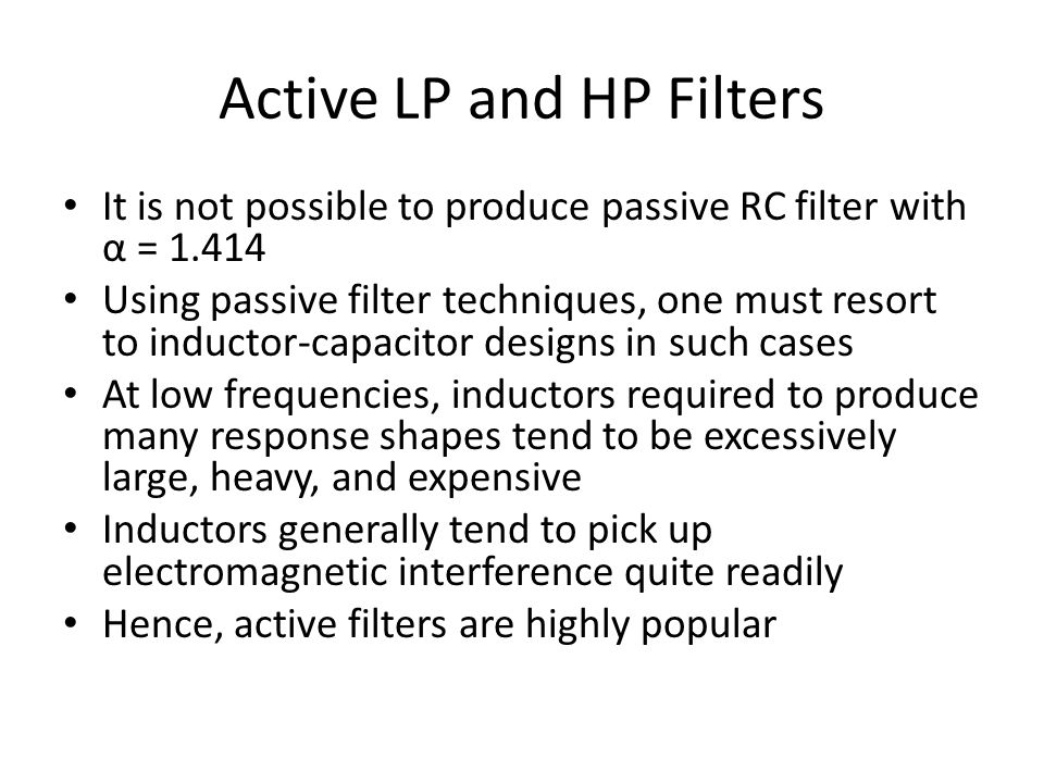 Active LP and HP Filters