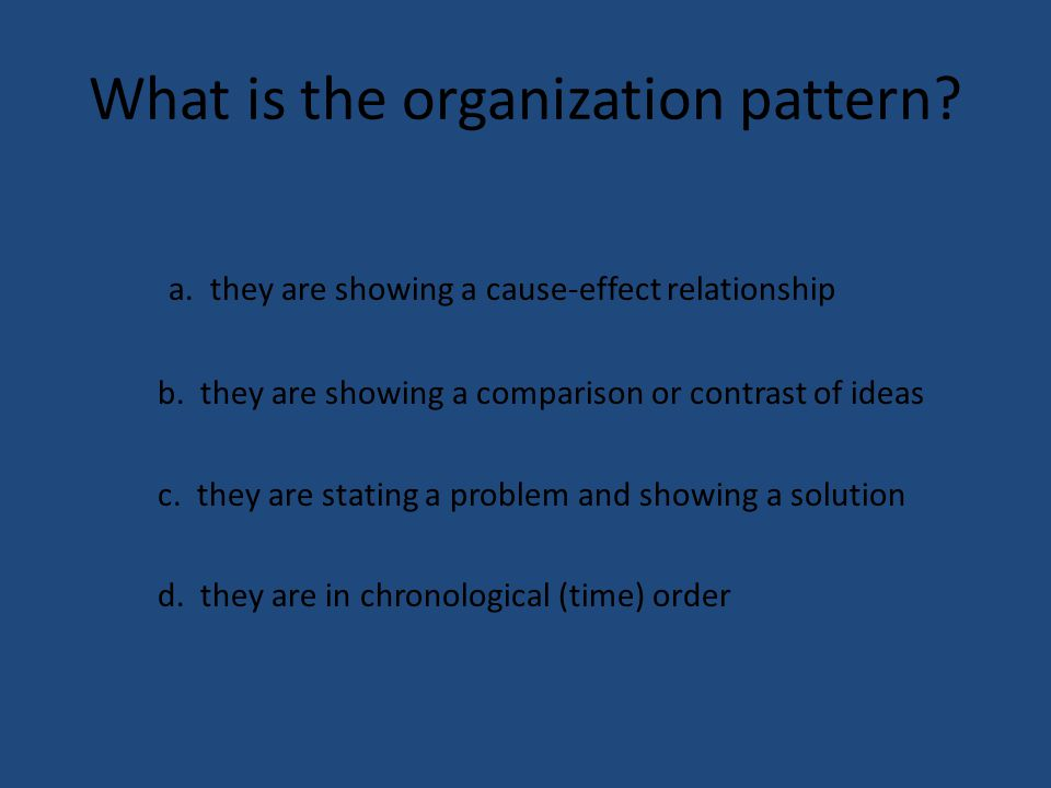 What is the organization pattern