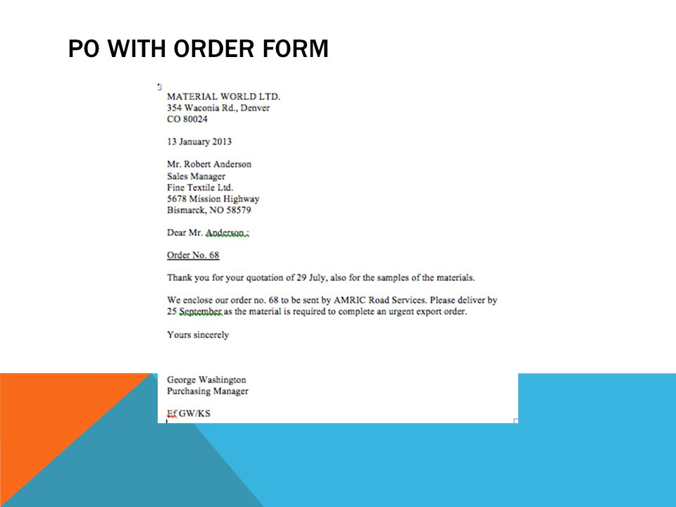 PO with Order Form