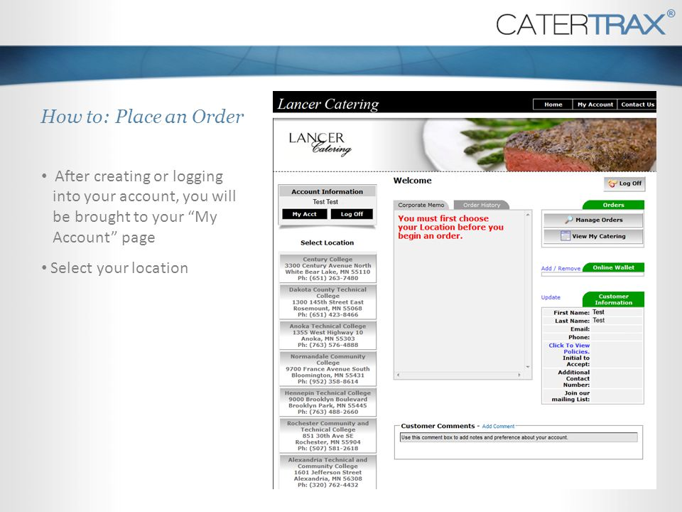 How to: Place an Order After creating or logging into your account, you will be brought to your My Account page.