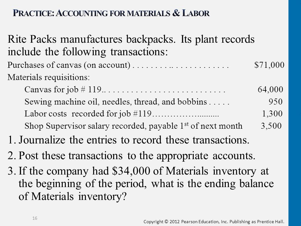 Practice: Accounting for materials & Labor