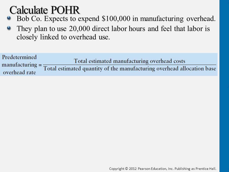 Calculate POHR Bob Co. Expects to expend $100,000 in manufacturing overhead.