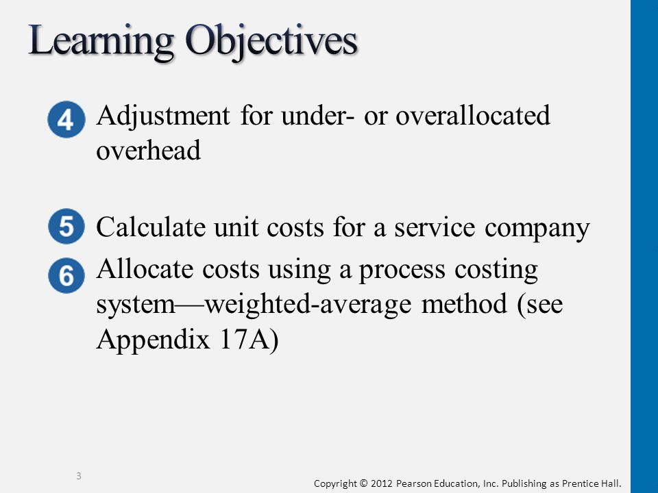 Learning Objectives Adjustment for under- or overallocated overhead