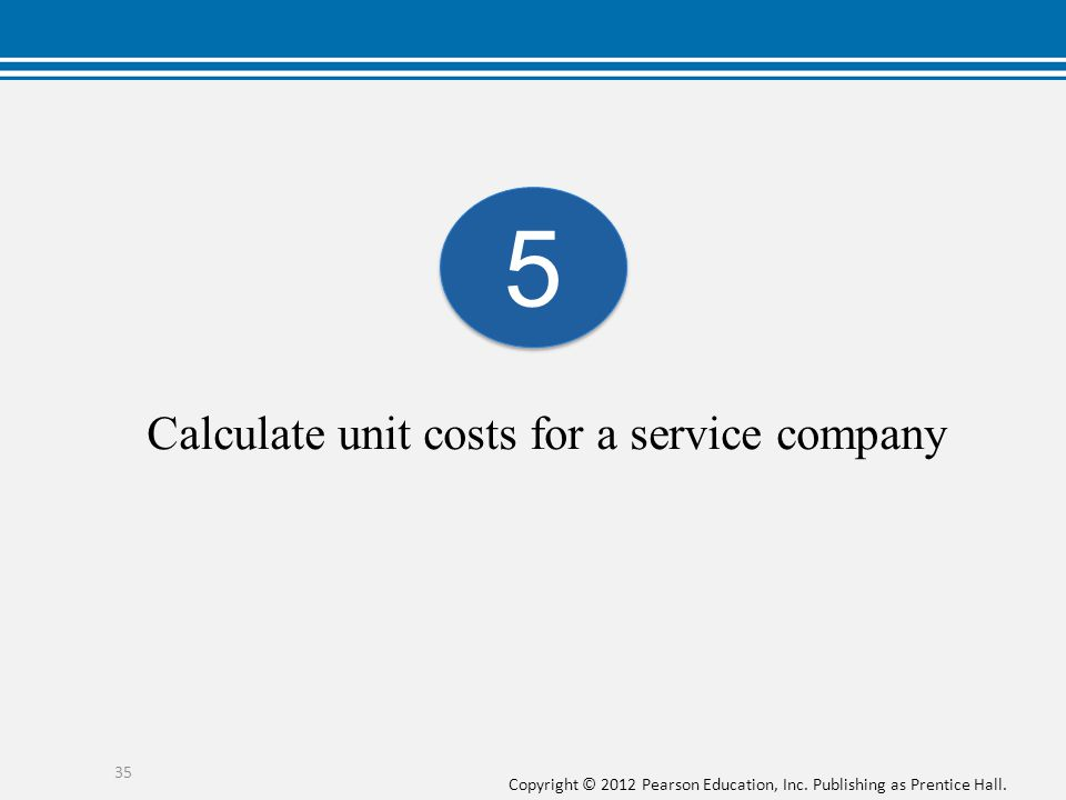 Calculate unit costs for a service company
