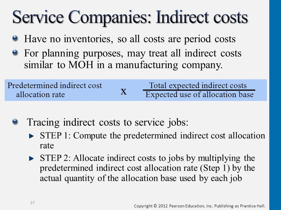 Service Companies: Indirect costs