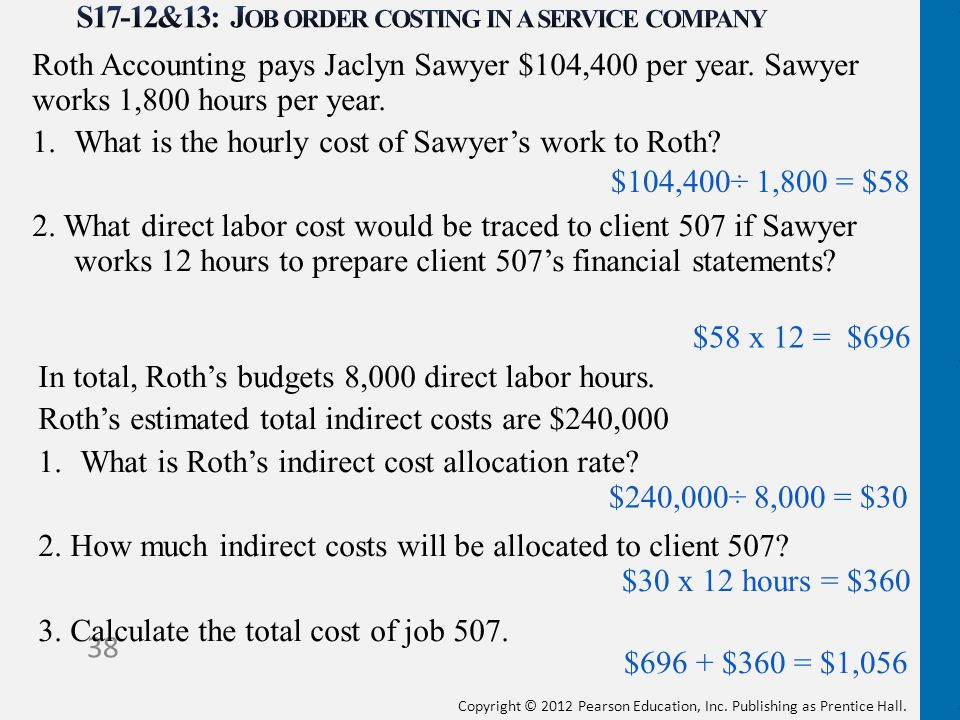 S17-12&13: Job order costing in a service company