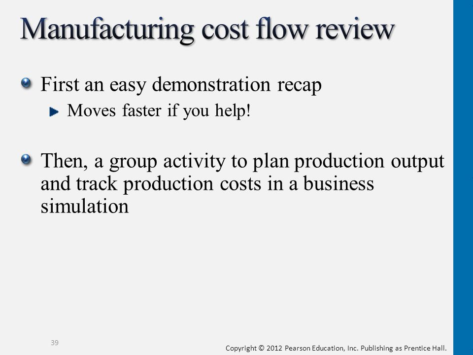 Manufacturing cost flow review