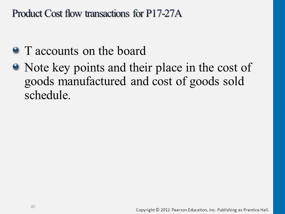Product Cost flow transactions for P17-27A