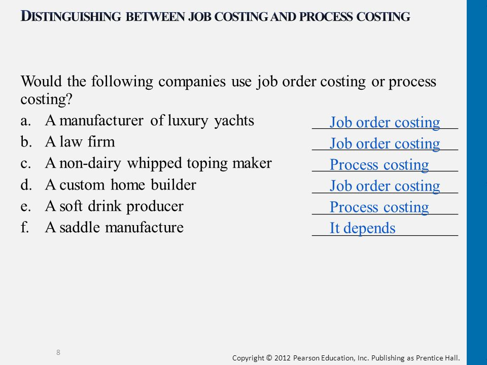 Distinguishing between job costing and process costing