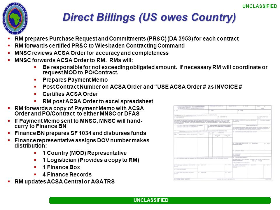 Direct Billings (US owes Country)