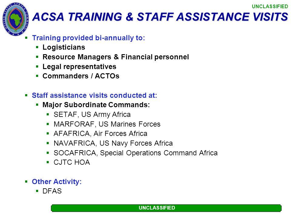 ACSA TRAINING & STAFF ASSISTANCE VISITS