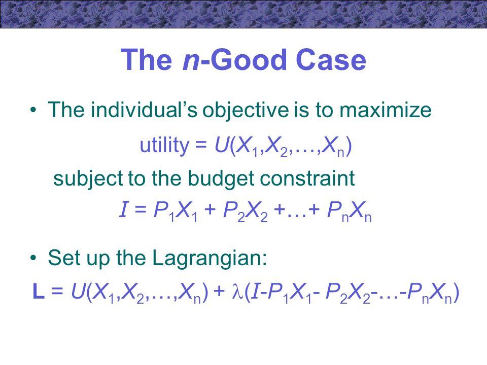L = U(X1,X2,…,Xn) + (I-P1X1- P2X2-…-PnXn)