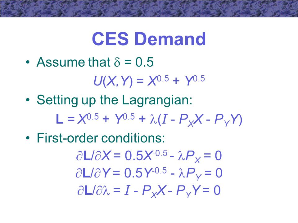 CES Demand Assume that  = 0.5 U(X,Y) = X0.5 + Y0.5