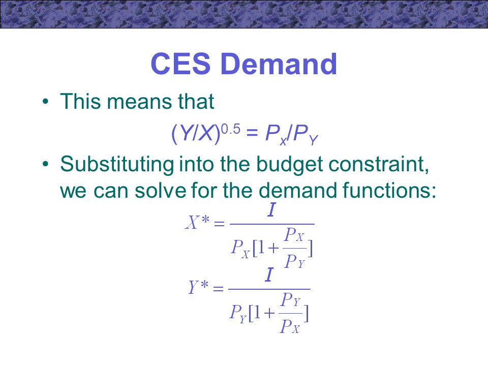 CES Demand This means that (Y/X)0.5 = Px/PY