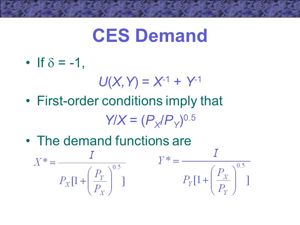 CES Demand If  = -1, U(X,Y) = X-1 + Y-1