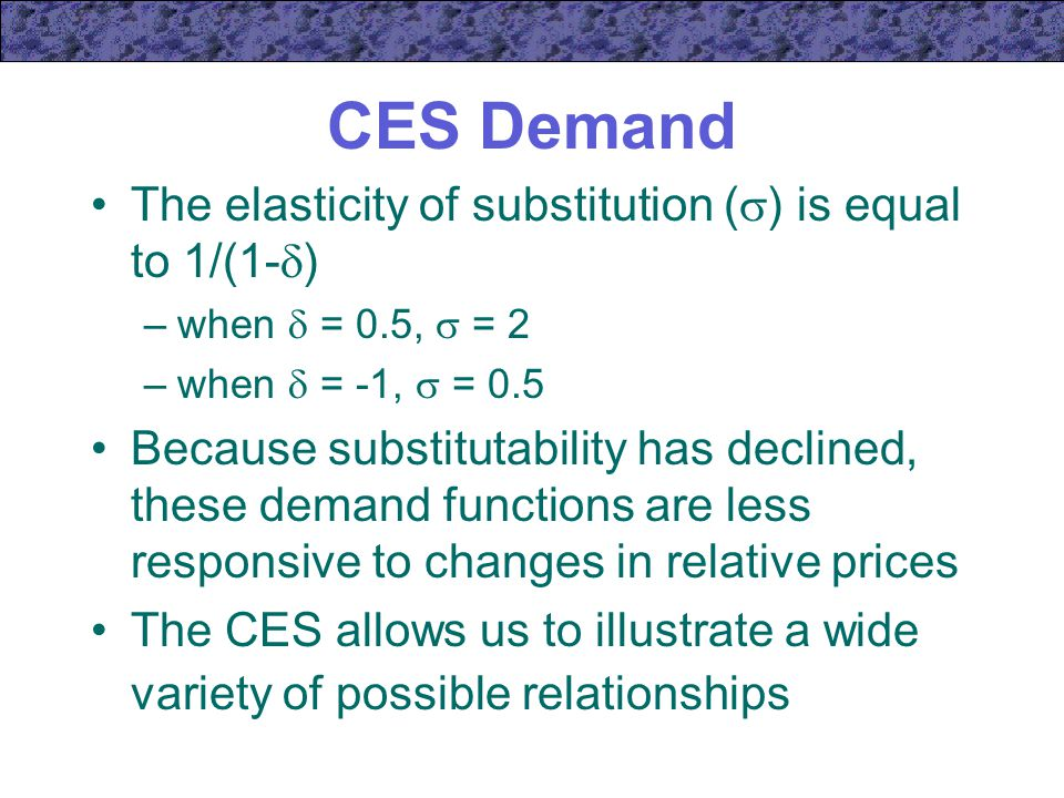 CES Demand The elasticity of substitution () is equal to 1/(1-)
