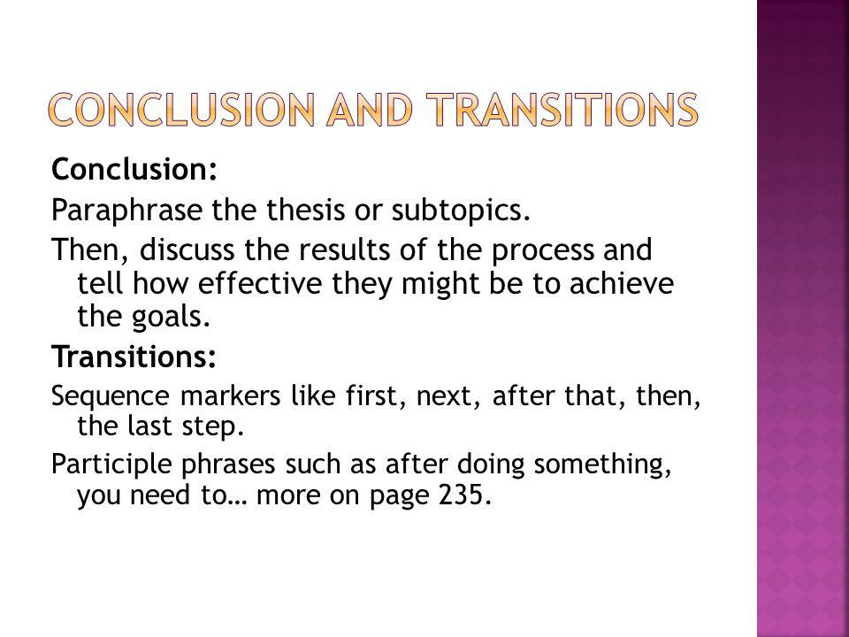 Conclusion and Transitions