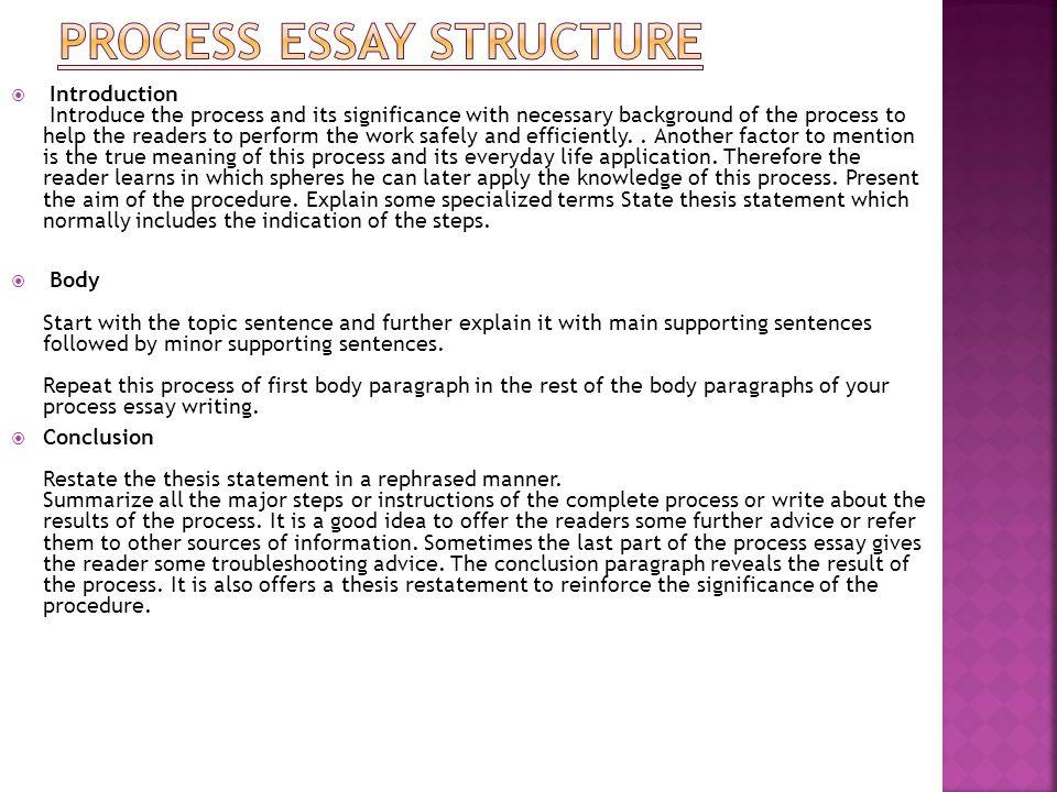 Process essay chronological order