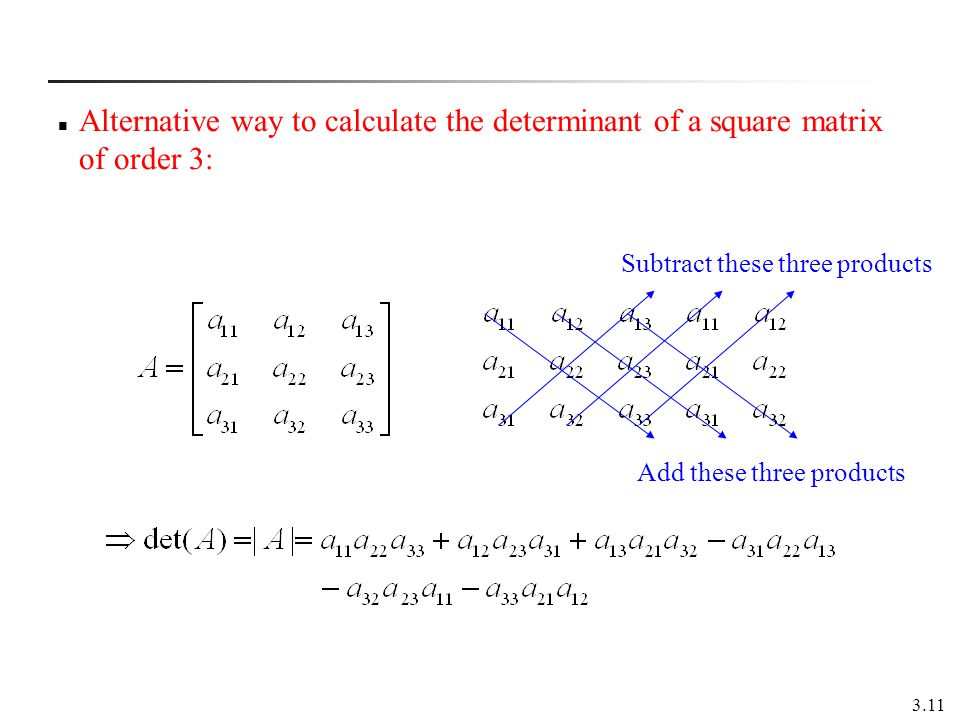 Alternative way to calculate the determinant of a square matrix of order 3: