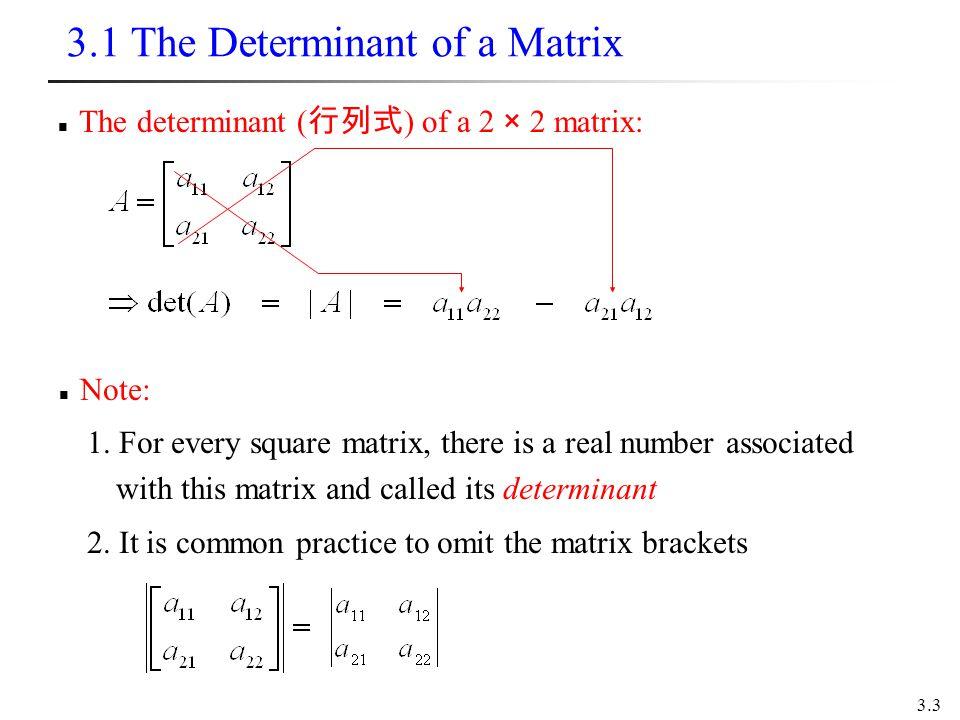 3.1 The Determinant of a Matrix