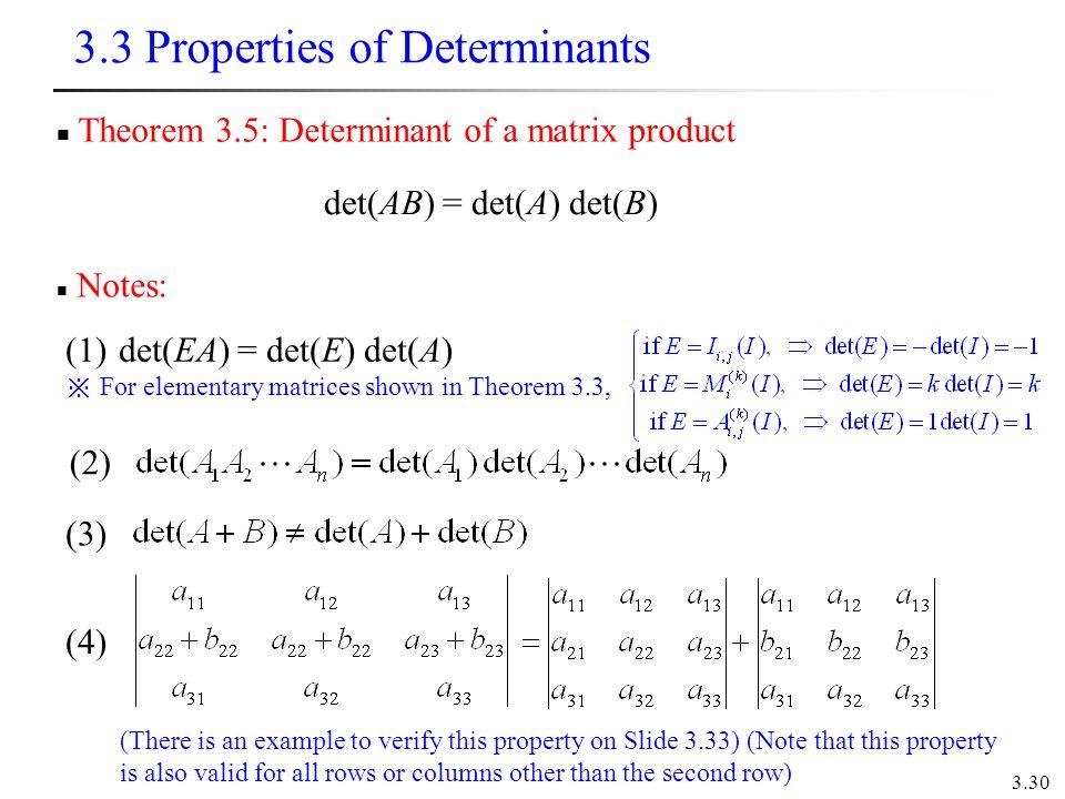 3.3 Properties of Determinants