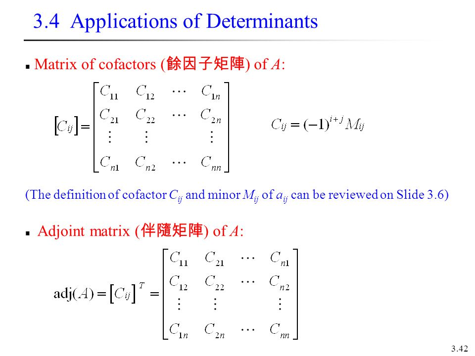 3.4 Applications of Determinants